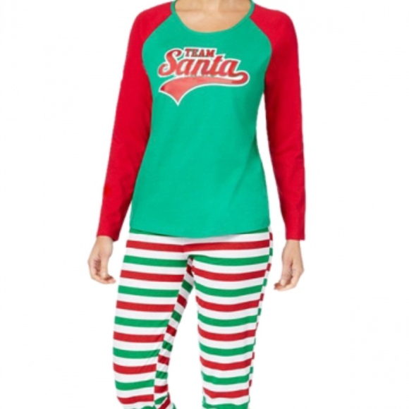 Family PJs Striped Team Santa Print Pajama Set NWT 85ea50c26